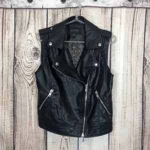 Anthropologie Blu Pepper Faux Leather Jacket Vest